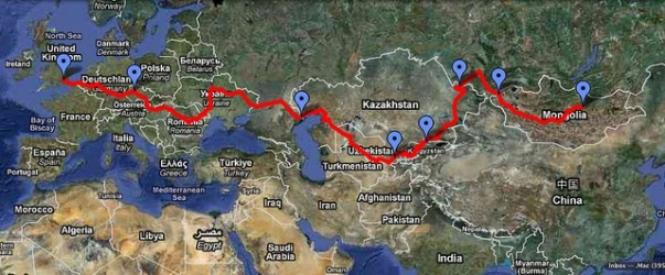 Mongol Rally route