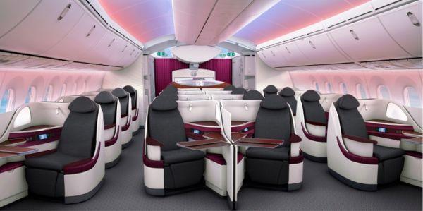 Qatar Airways 787 Business Class Cabin